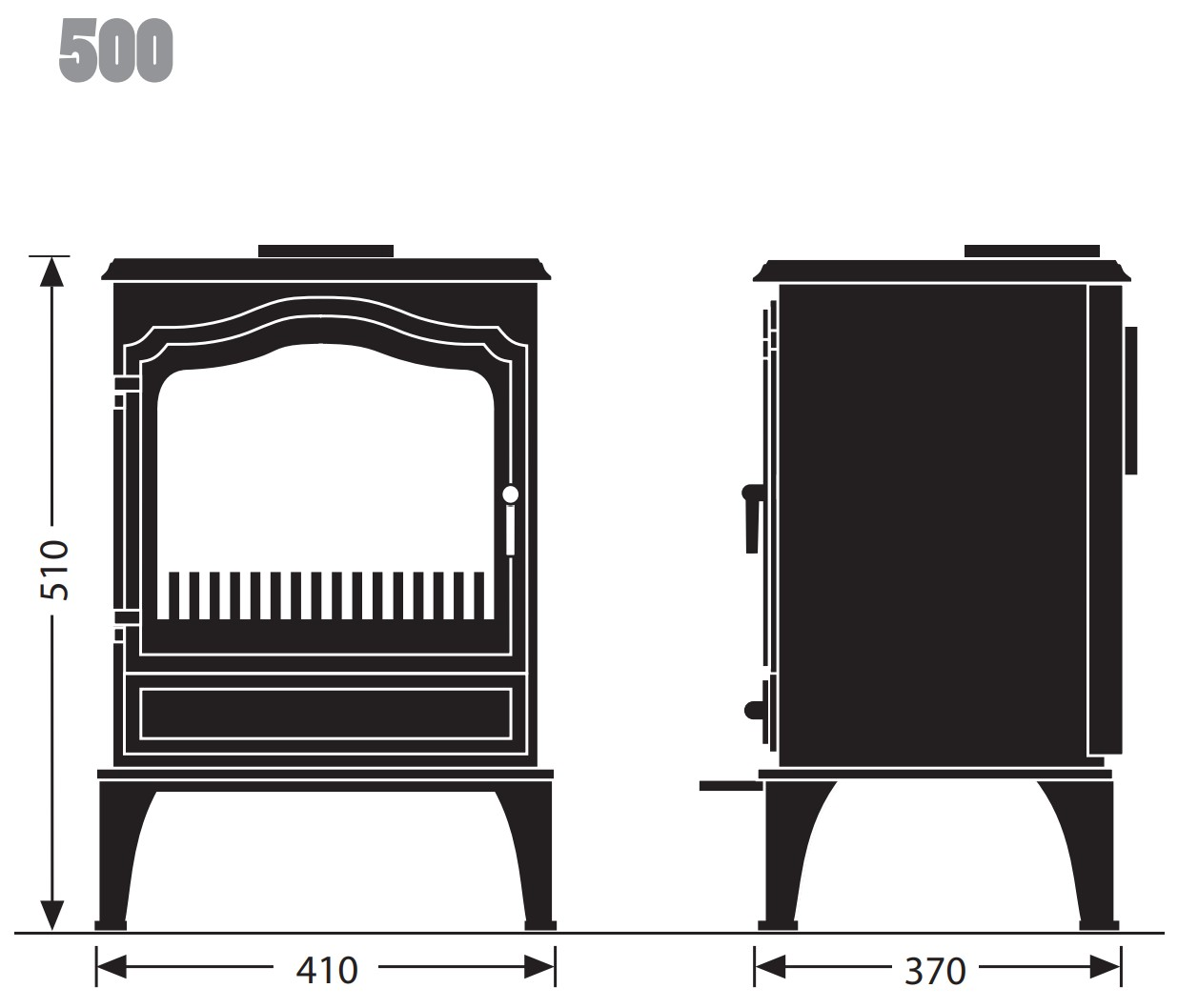 Esse woodburning stove - model 500 - dimensions / schematic