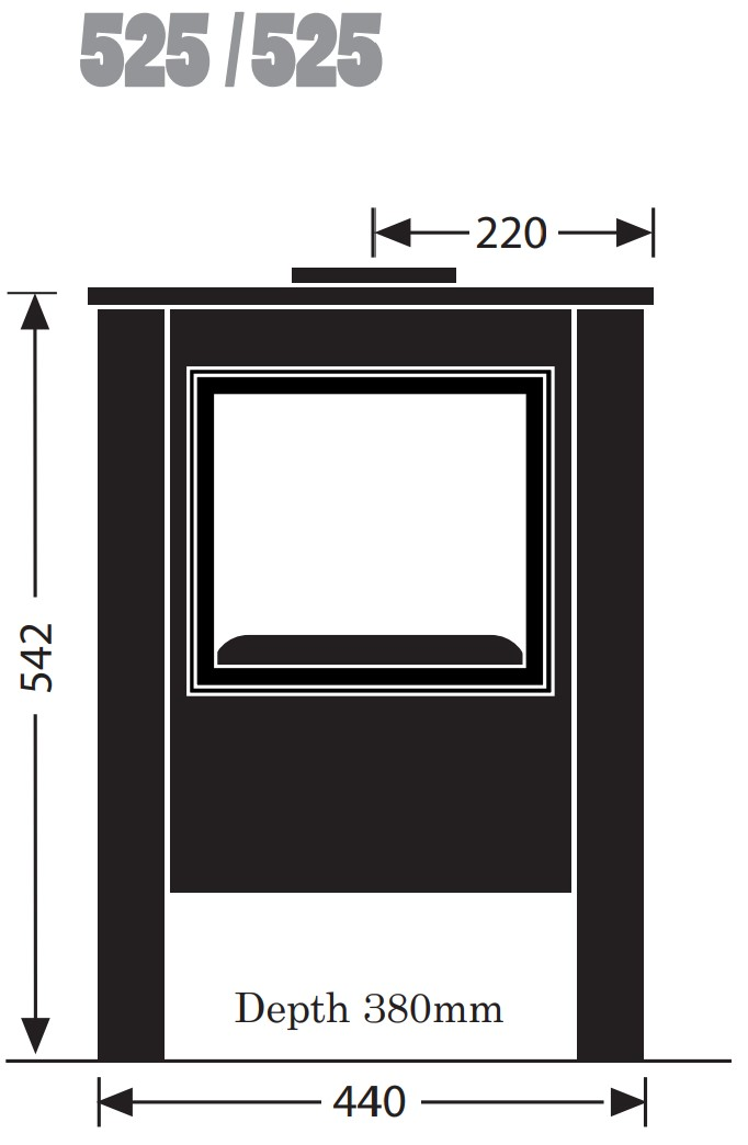 Esse woodburning stove - model 525 - dimensions / schematic