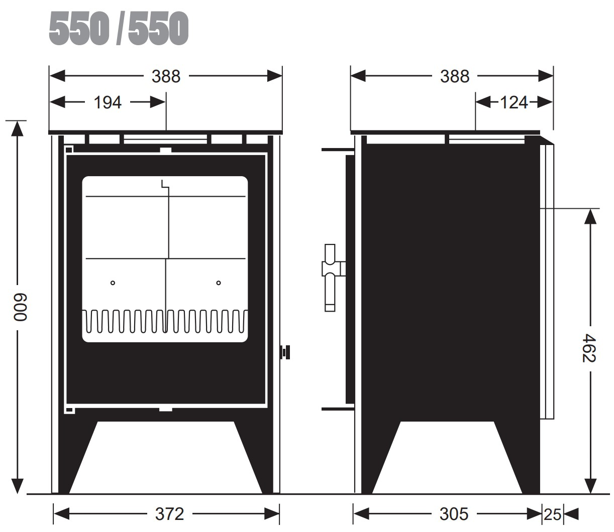 Esse woodburning stove - model 500/550 - dimensions / schematic