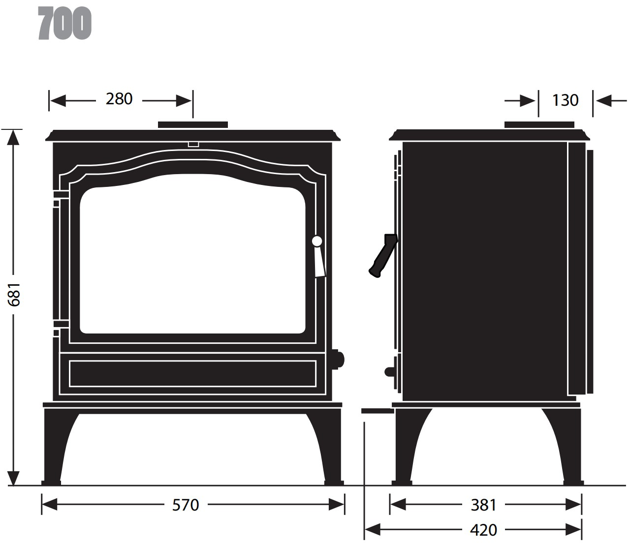 Esse woodburning stove - model 700 - dimensions / schematic
