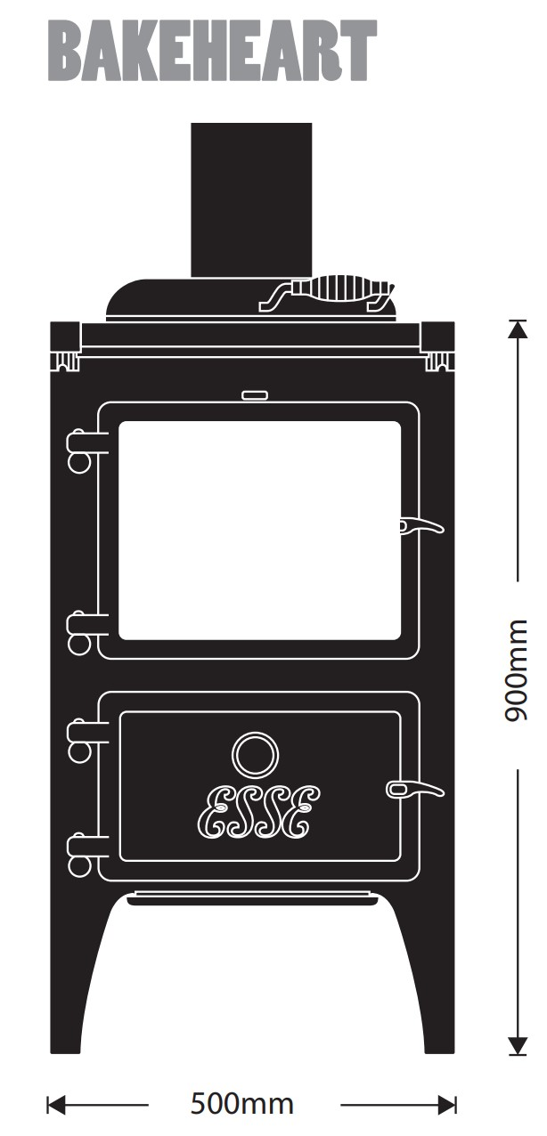 Esse woodburning stove - model Bakeheart - dimensions / schematic