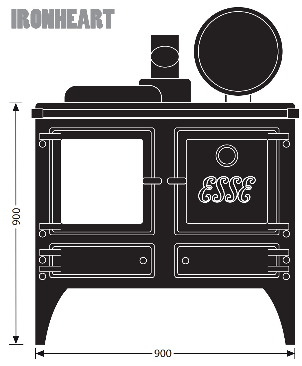 Esse woodburning stove - model Ironheart - dimensions / schematic