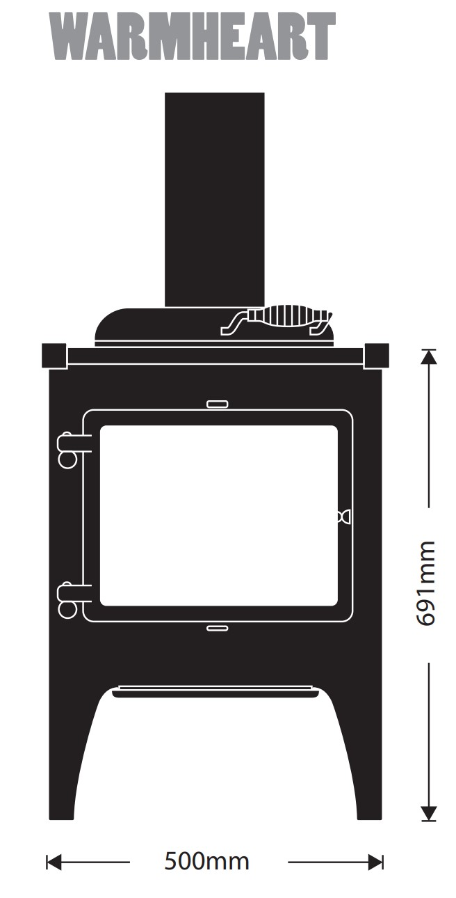 Esse woodburning stove - model Warmheart - dimensions / schematic