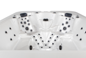 Novitek Levi 7-seater hot tub - The spacious Levi outdoor hot tub indulges as many as seven bathers at a time. The tub includes two captain's seats equipped with shoulder massage jets and their own massage pumps. The wide corner bench for five people provides the kind of freedom of choice not available in many other hot tubs.