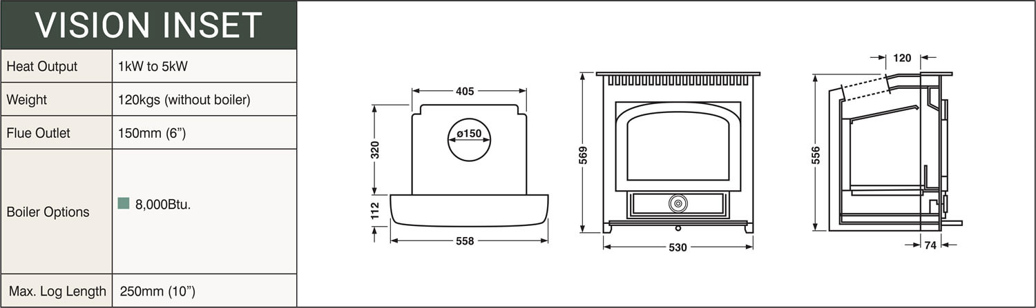 Clearview Vision Inset Multifuel Stove - Clearview Stoves Size schematic