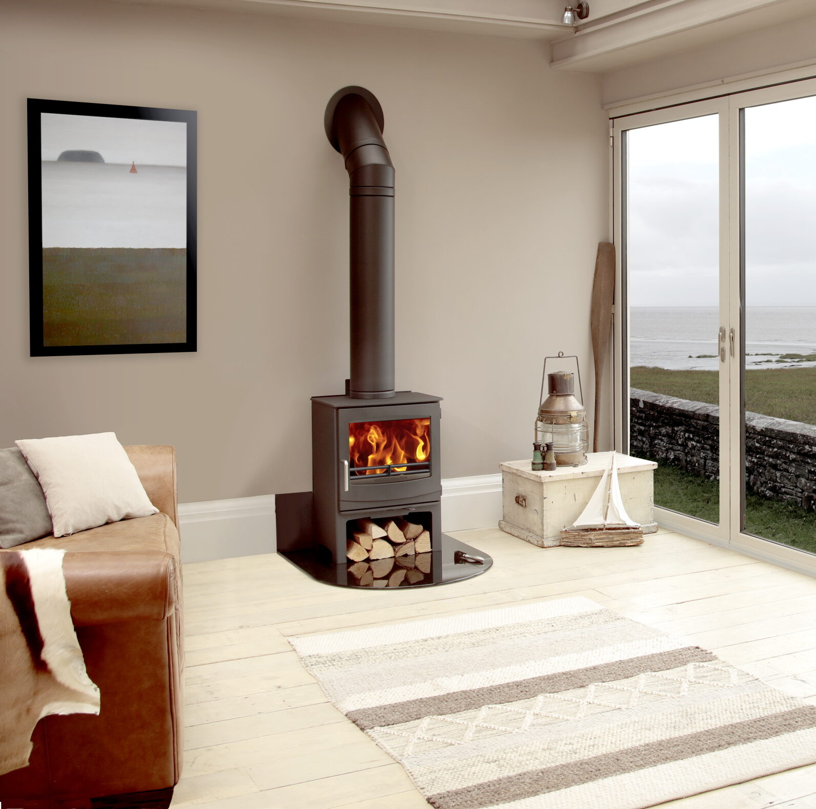 Woodwarm Fireview ECO 7kw on Logstore