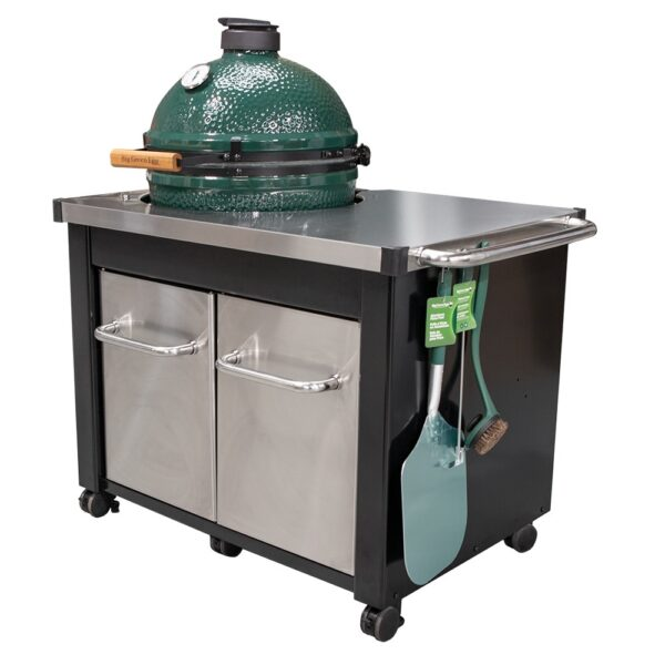 Big Green Egg in Stainless steel table