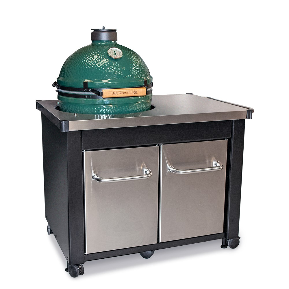Large Big Green Egg With Stainless Steel Table