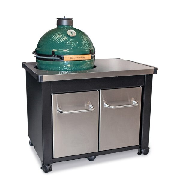 Large Big Green Egg & Stainless Steel Table Bundle - Our Large Big Green Egg bundle with worktop. Made of durable stainless steel, the stylish work top, which is exclusive to Topstak, gives you the space you need to prepare food right at the grill. Sturdy doors and handles, also made of stainless steel provide ample storage for grilling necessities.