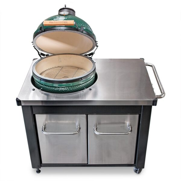 Large Big Green Egg With Stainless Steel Table - Made of durable stainless steel, the stylish work top, which is exclusive to Topstak, gives you the space you need to prepare food right at the grill. Sturdy doors and handles, also made of stainless steel provide ample storage for grilling necessities. The convenient pull-out tray is perfect for storing bags of charcoal or wood chips and chunks.The heavy-duty steel cabinet and base is finished with a premium powder coat epoxy paint for long lasting durability. <strong>Please Note: Table arrives flat packed - assembly required</strong> For Nationwide (UK Mainland) orders please call us on 01446 771567 to order.
