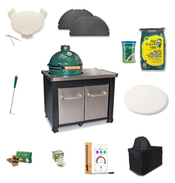 Large Big Green Egg stainless steel table