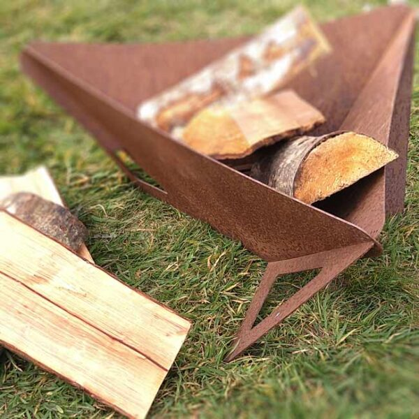 Arada Delta Small Fire Pit - The Arada Delta Small Firepit is ideal for garden parties, picnics, beach trips. Burns wood logs. Made from 3mm steel. Can be dismantled and stored away, or left outdoors to acquire an oxidised patina. Measures 510 x 510 x 290mm (L x W x H) Weighs approx. 7kg (unpacked) Requires some minor self-assembly (no tools required). Not recommended for use on wooden decking.