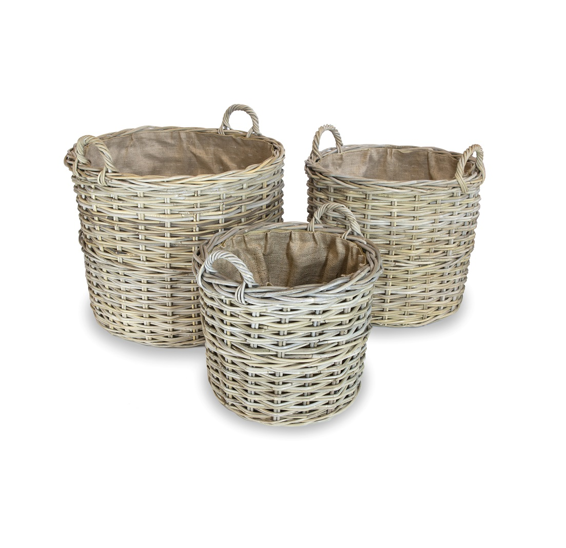 Round Wicker Log Basket with Liner - Small