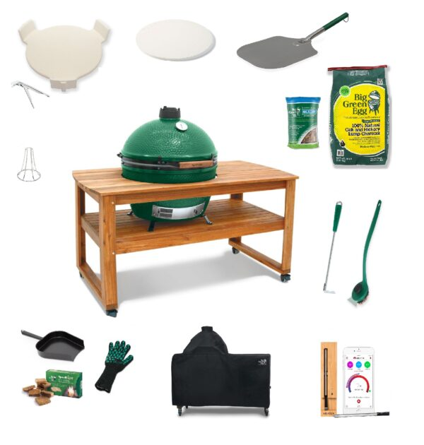 X-Large Big Green Egg in Acacia Table - Full Bundle