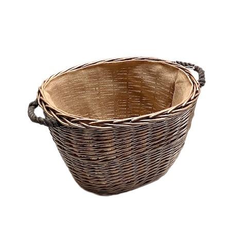 Antique Wash Oval Log Basket - Medium
