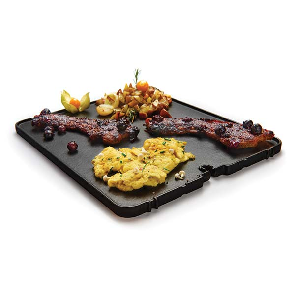 BROIL KING CAST IRON GRIDDLE - PORTA CHEF 320/ GEM 320 & 340 - BROIL KING CAST IRON GRIDDLE - PORTA CHEF 320/ GEM 320 & 340 Expand your barbecue's capabilities with a Broil King Griddle. A reversible, heavy duty cast iron griddle with matte porcelain coating. One side is smooth for frying while the other side is ribbed for searing. Exact fit allows for use in place of a section of your Broil King cooking grids. Size: 13.15″ x 10.42″. Fits Models: Porta-Chef 320 and Gem 340, 320. Works with the 60745 grid lifter.