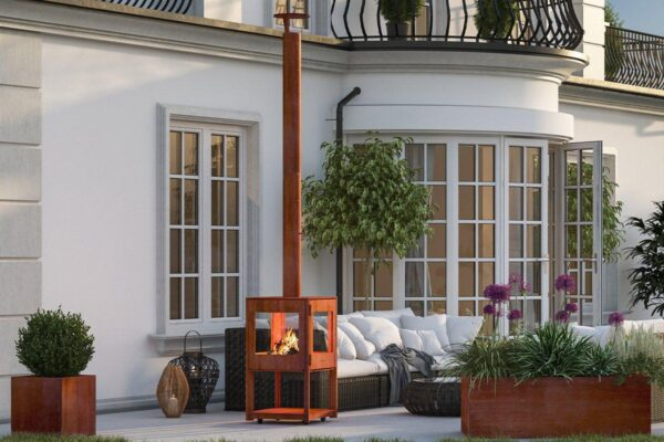 HWAM CUBIS WITH WHEELS - The perfect place to get warm when the outside temperature drops is in front of an outdoor wood burning stove or firepit. Sit back and enjoy the warmth and sight of the enchanting flames of the CUBIS outdoor wood burning stove. Wheels can be purchased, allowing you to easily move it to the place you prefer. The CUBIS outdoor wood-burning stove is made from the highest quality Corton Steel which will age and weather naturally with a beautiful stylish rust contemporary look.