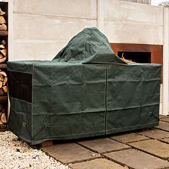 X-Large Big Green Egg in Premium Mahogany Table - Full Bundle Deal - A show stopping table for your Extra Large Big Green Egg, made from sustainably sourced plantation mahogany - with plenty of surface space for prepping, resting and serving your flavourful creations.