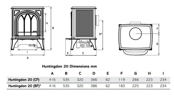 Gazco Huntingdon 20 Gas Stove - Ex-Display - The compact Gazco Huntingdon 20 gas stove's proportions make it perfect for British fireplace openings, whilst its highly efficient 2.6kW heat output easily creates a warming atmosphere in standard sized rooms. <hr /> <ul> <li>Tracery Door</li> <li>Conventional Flue</li> <li>Natural Gas</li> <li>Log Effect</li> <li>Manual Control</li> <li>1.6kw - 2.7kw heat output</li> </ul>