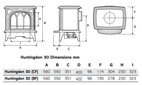 Gazco Huntingdon 30 Gas Stove - Ex-Display - A popular stove in the Gazco range, the Huntingdon 30 gas stove successfully combines refined styling with efficient heating technology. <hr /> <ul> <li>Clear Door</li> <li>Conventional Flue</li> <li>LPG</li> <li>Log Effect</li> <li>Manual Control</li> <li>1.9kw - 3.6kw heat output</li> </ul>