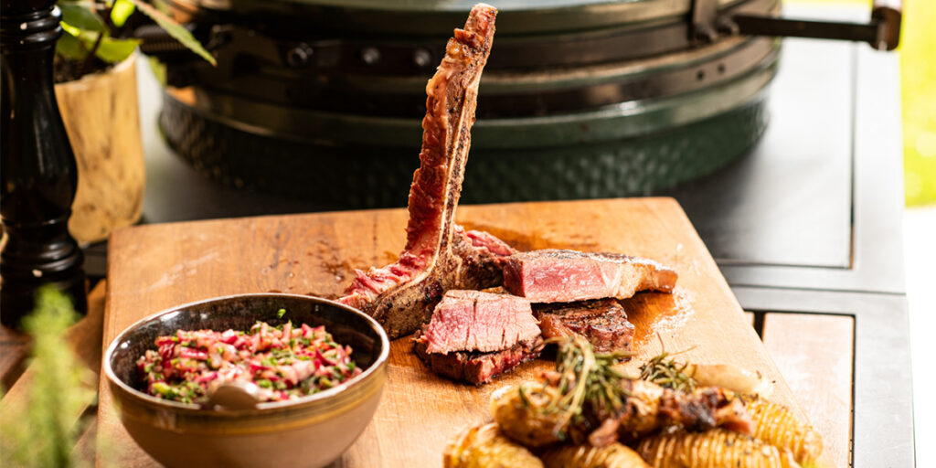 t-bone steak with chimichurri