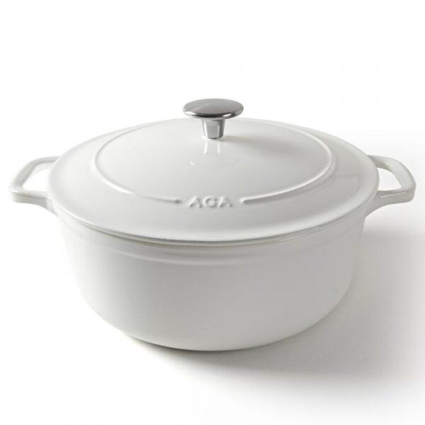 AGA Cast Iron 26cm Casserole - White