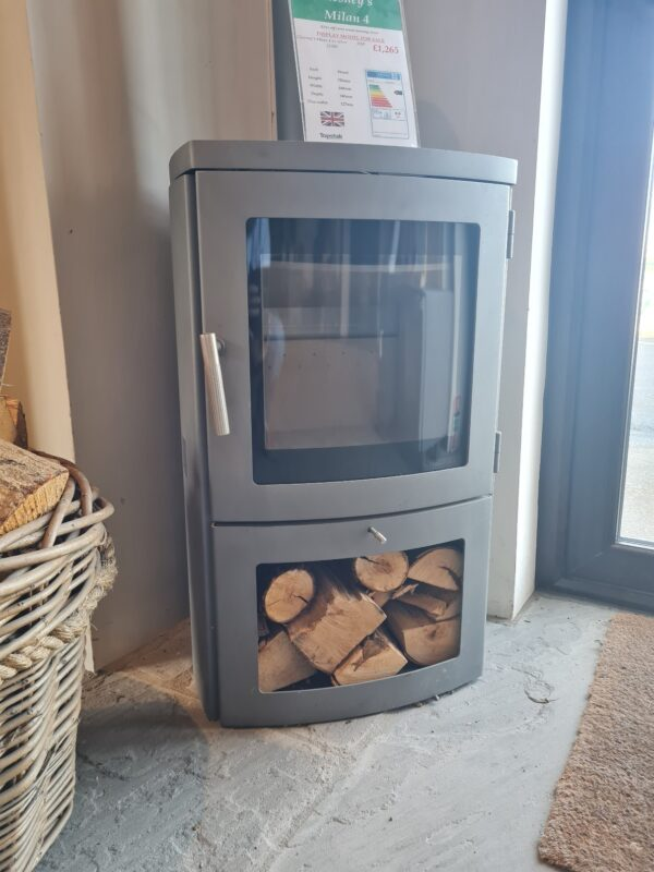 Chesney's Milan 4 in Silver - Ex-Display - The Chesneys Milan 4 Series wood burning stove is DEFRA exempt for use in smoke control areas which means it can be safely and legally used to burn logs in all major cities and towns throughout the UK. 4.6kW Output 80% Net efficiency rating