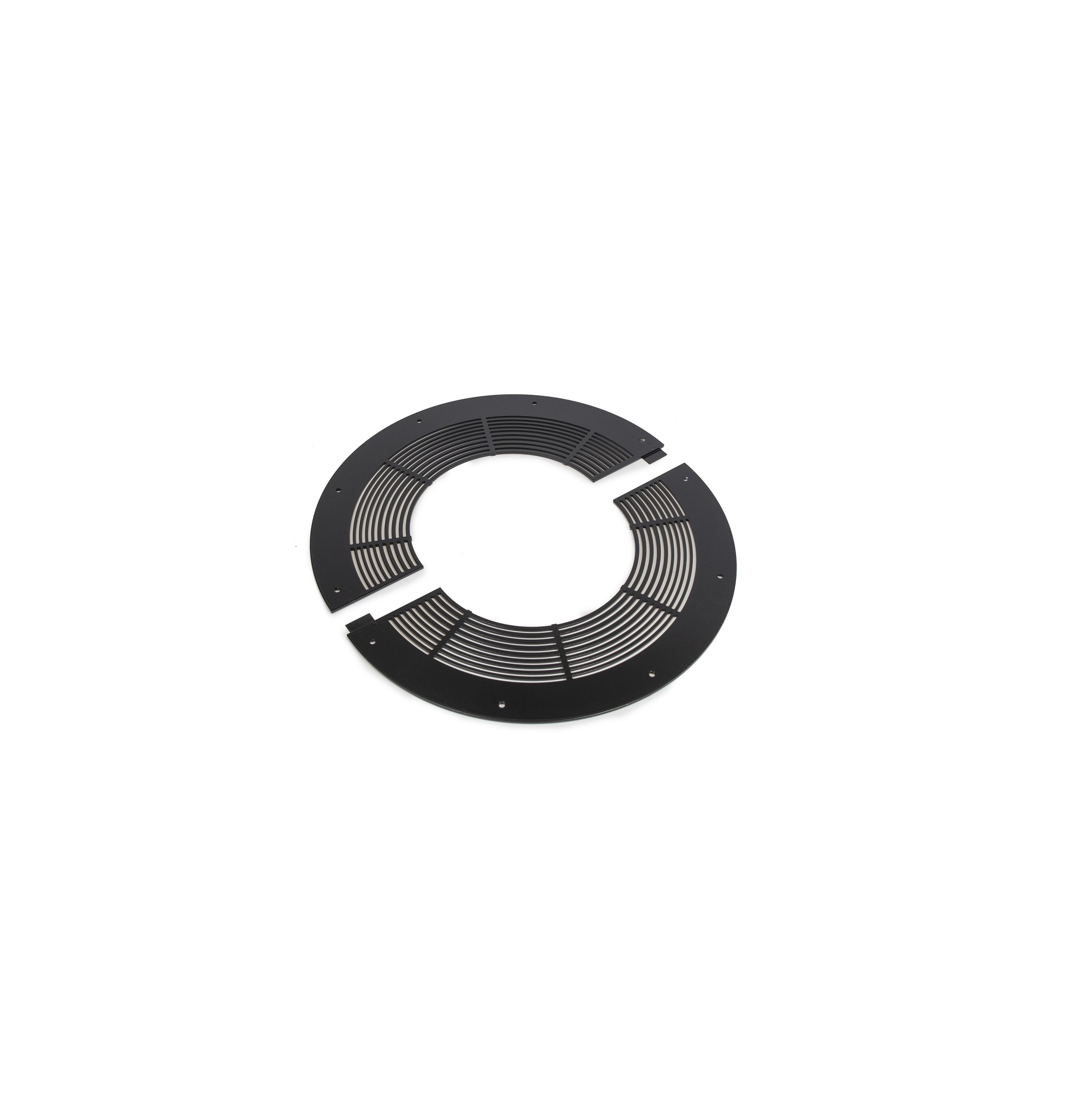 Ventilated Round Firestop Plate 2pc - Schiedel Twin Wall Flue - Black