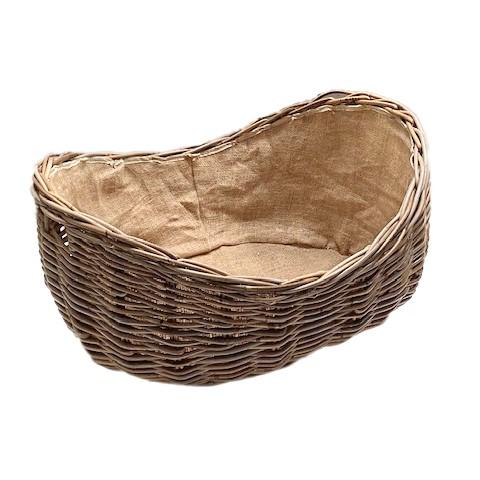 Large Boat Shaped Rattan Log Basket With Hessian Lining