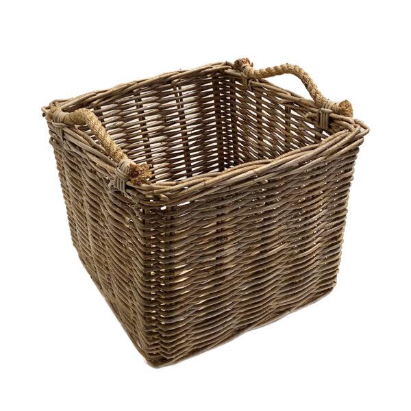 Large Square Grey Rattan Log Basket