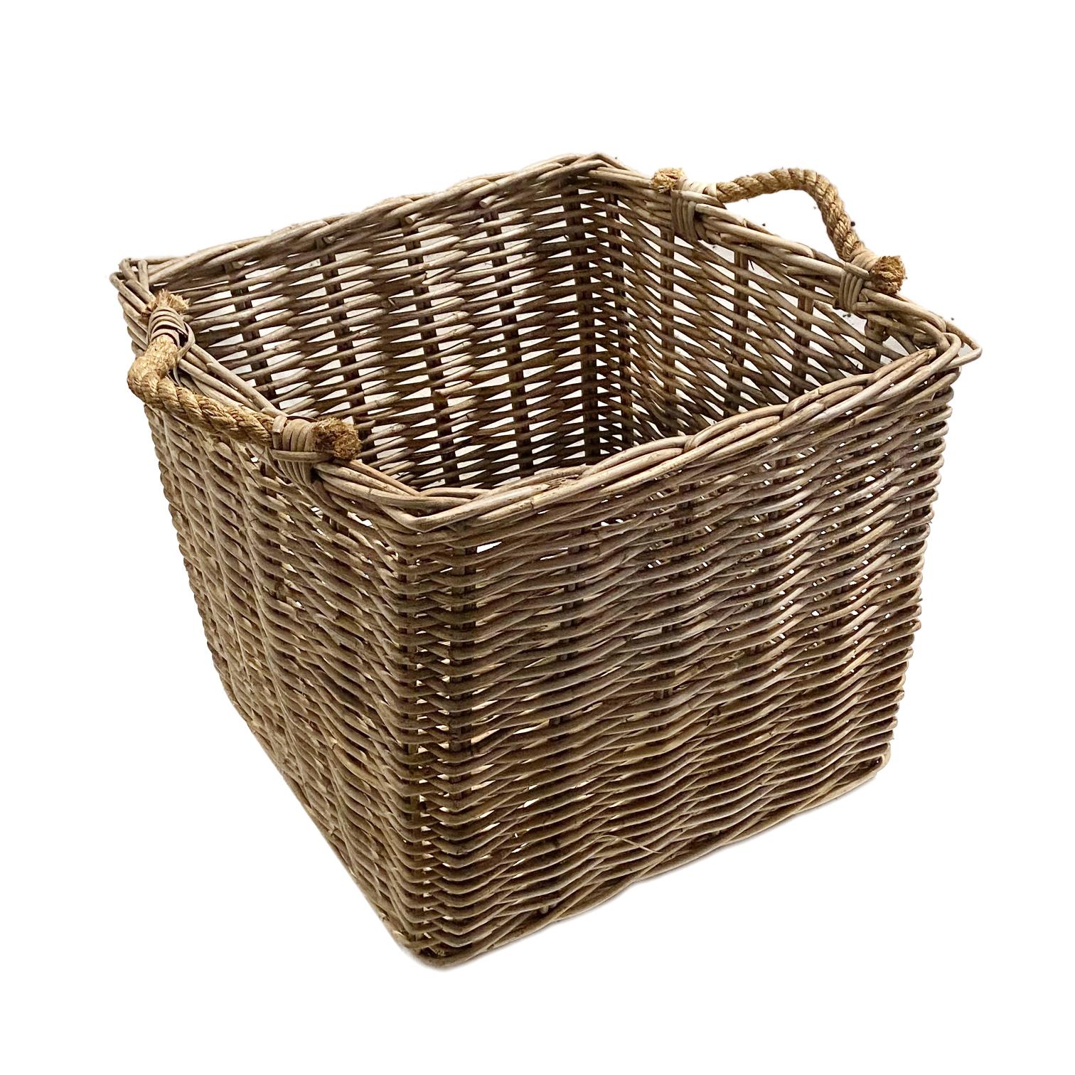 Medium Square Grey Rattan Log Basket