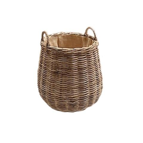 Pot-bellied Hessian Lined Rattan Log Basket