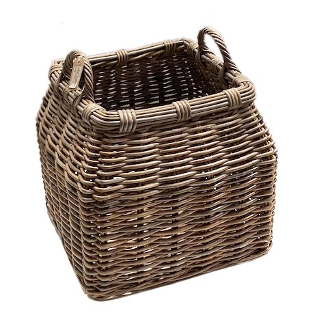 Round Top Square Bottom Log Basket with Ear Handles