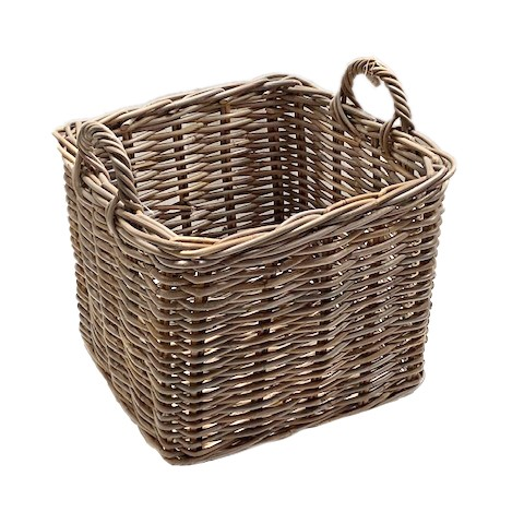 Square Log Storage Basket with Ear Handles - Small