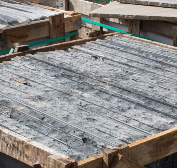 Chipped edged hearth slabs