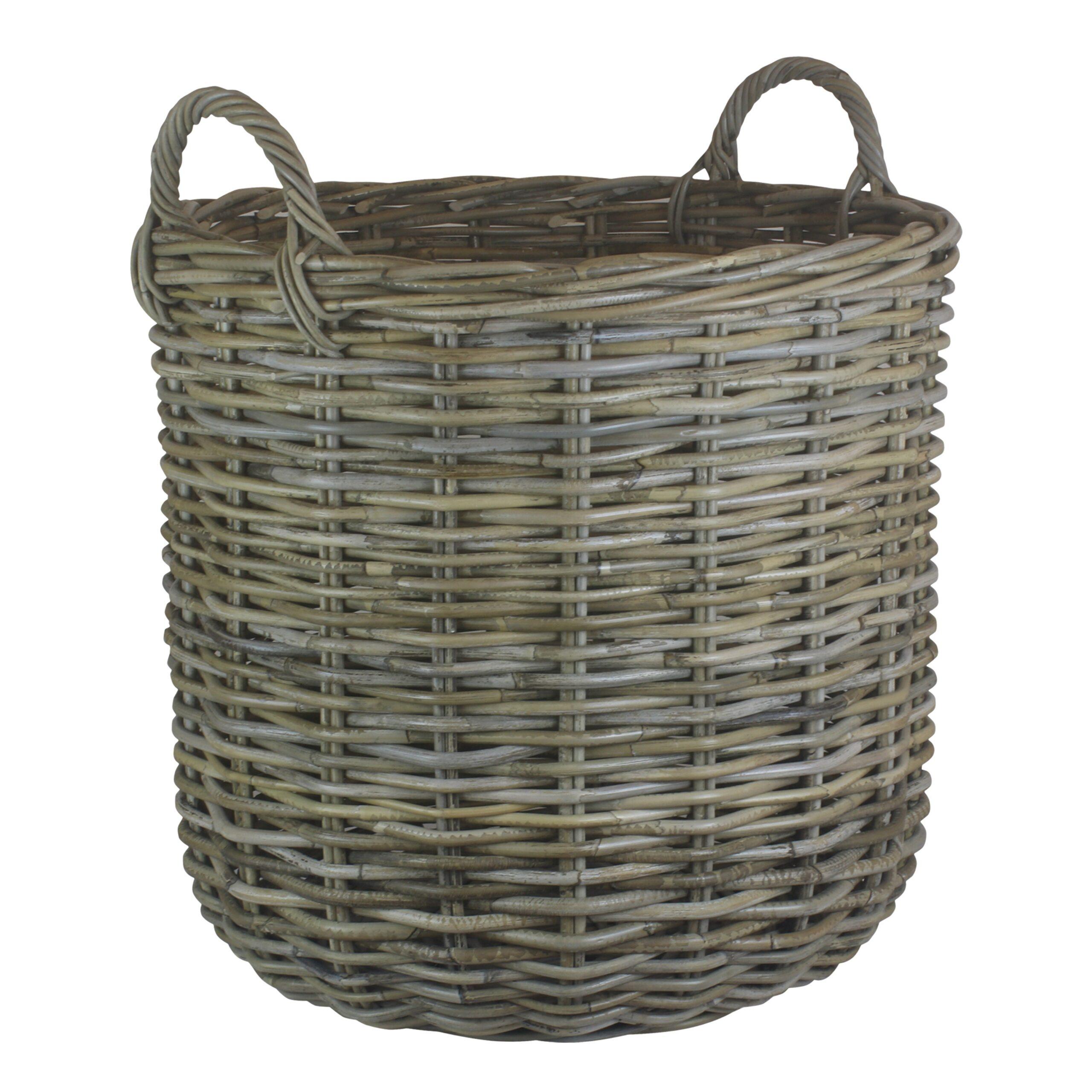 Tall Round Fireside Grey Rattan Log Basket – Large