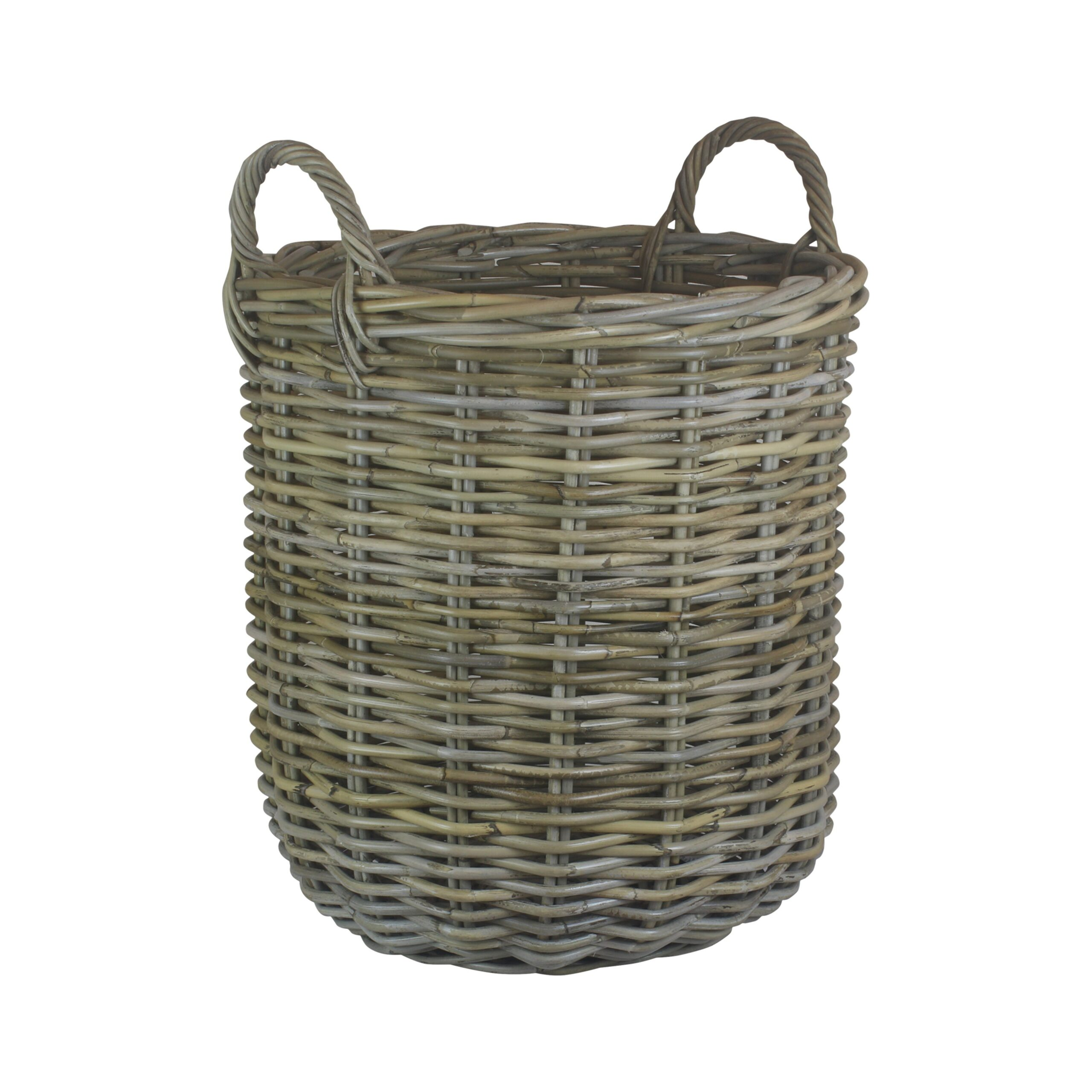 Tall Round Fireside Grey Rattan Log Basket – Small